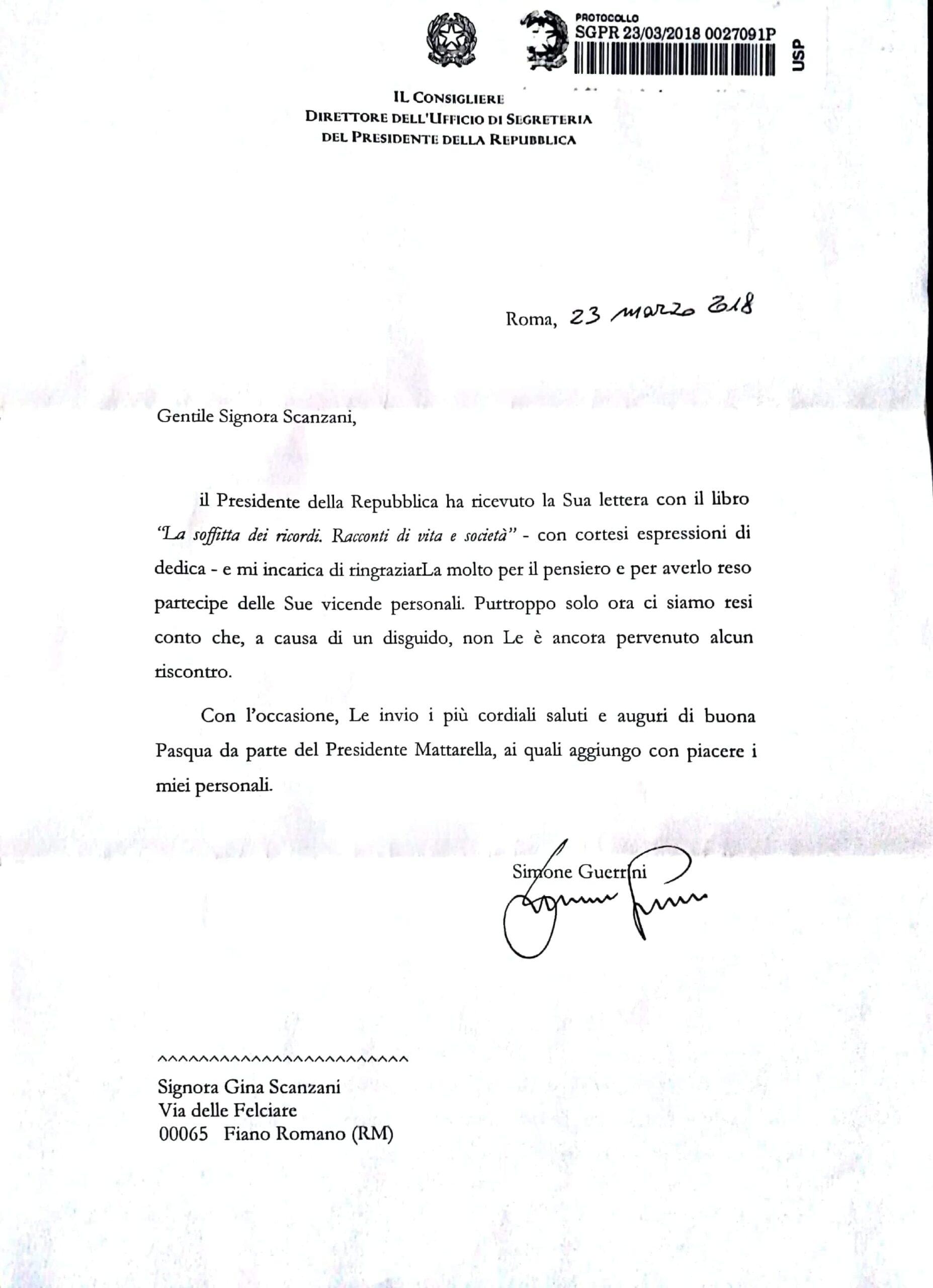 Lettera dalla Presidenza della Repubblica Italiana