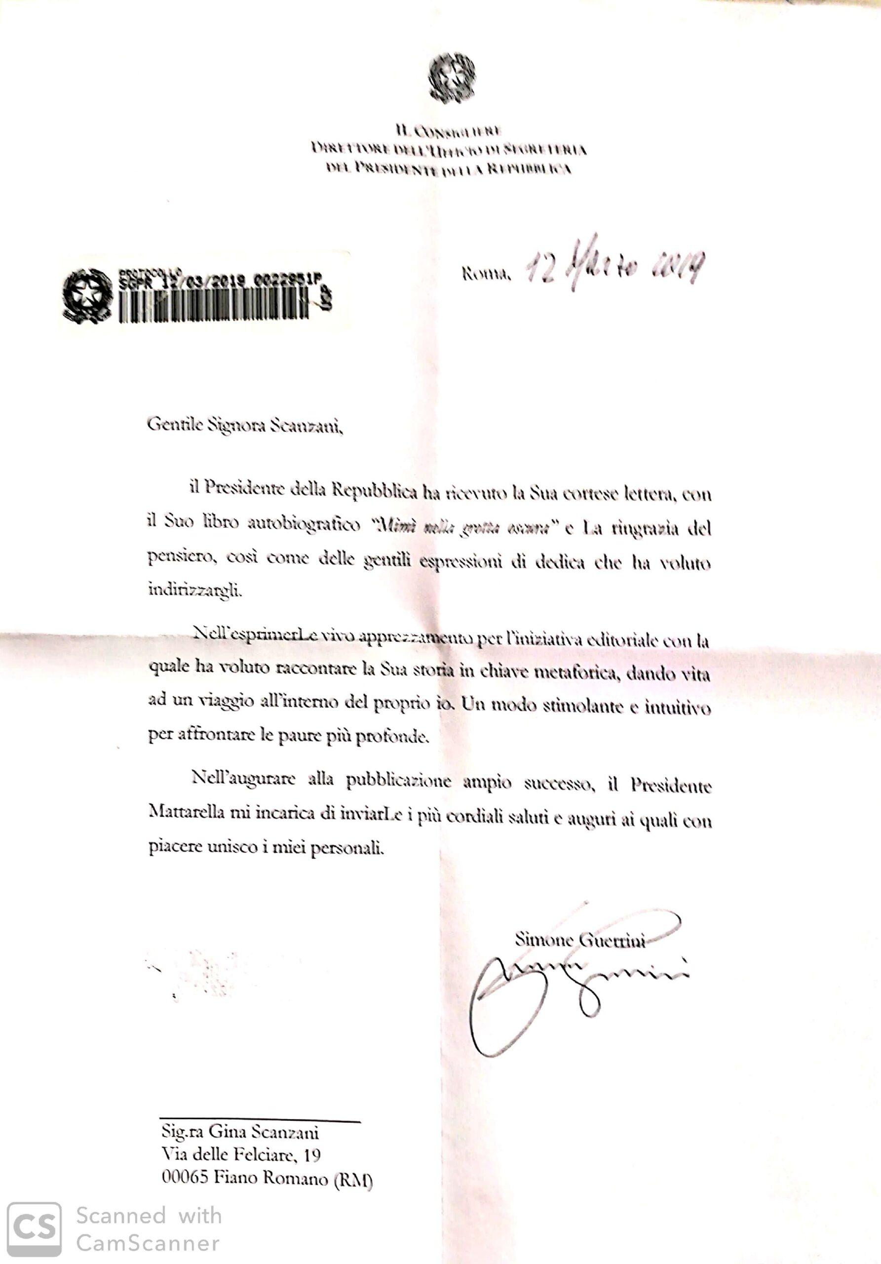 Lettera dalla Presidenza della Repubblica
